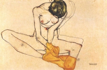 Sitting Female Nude with Yellow Blanket, 1910