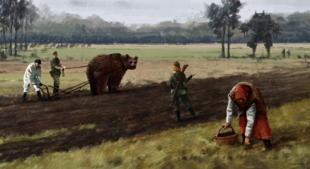 1920 - helping hand. My new painting from 1920+ project, do not worry, I'm not going put 'Wojtek' to the plow permanently, he just helping in the meantime :)