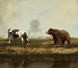 1920 - about life and stuff. Concept art from my 1920+ universe and Scythe game, bear Wojtek talking with cow about life... only in 'Scythe' game, cheers! :]