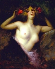 A Semi-Draped Woman with Flowers in Her Hair