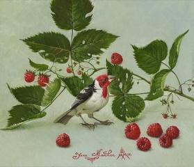 Bird with Raspberries
