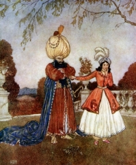 Bluebeard and his wife. She holds the key