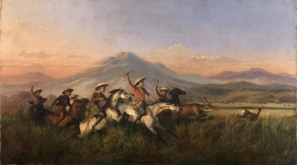 Six Horsemen Chasing Deer (1860)
