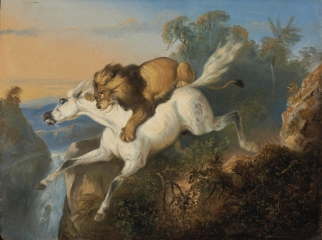 Lion attacking a horse (1840)