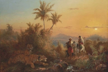 Javanese Landscape, with Tigers Listening to the Sound of a Travelling Group (1849)