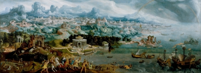 Seven Wonders of the Ancient World are depicted as a background for the abduction of Helen by Paris