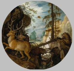 A Lion Hunting Two Deer