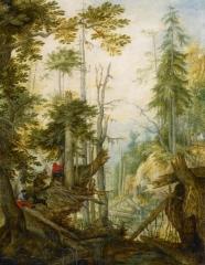 Alpine Landscape with Three Hunters