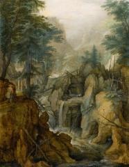 Alpine Landscape with Torrent and Hunter