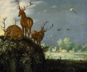 Three Stags in a Landscape