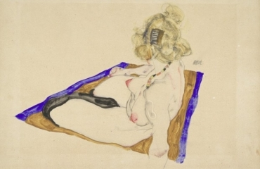 Blonde Nude Model Sitting on Brownish-Blue Cloth, 1912