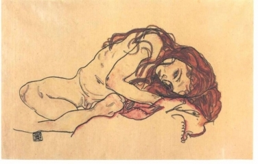 Crouching female nude with bended head, 1918