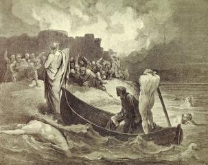 Вергилий, стоящий перед дьяволами за пределами города Дис.