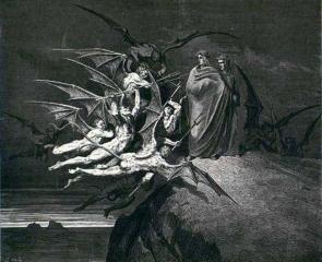 Дьяволы, стоящие перед Данте и Вергилием